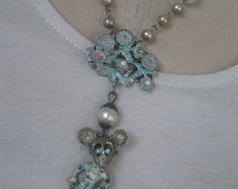 Miss Mouse, 1930s vintage, repurposed brooch, whimsical, ooak, upcycled, repurposed vintage, mouse necklace, boho, leaves,