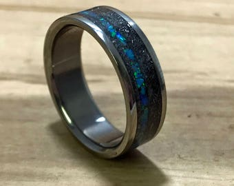Mens Titanium Wedding Band, Mens Meteorite Ring, Blue Opal Inlay Wedding Band For Him, Custom Engraving Wedding Ring, Anniversary Gift