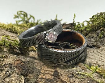 Damascus Steel Wedding Band Set, His and Hers Wedding Rings, Matching Ring Set, Stainless Steel Rings, Wooden Wedding Ring, Custom Egraving