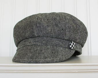 Womens Newsboy Hat in Black Linen - Newsboy Cap - Womens Hats - Made To Order