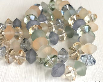 Czech Glass Beads - Rivoli Beach Glass Mix 10 7x11mm