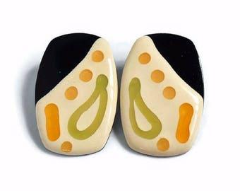 Vintage 1960s to 1970s Large Retangular Ceramic Earrings for Pierced Ears