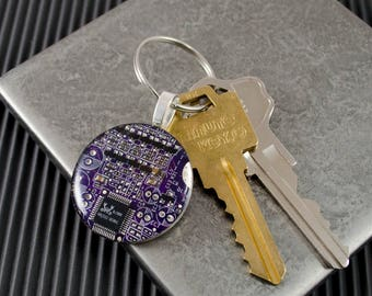 Circuit Board Keychain Purple, Computer Engineer Gift, Geeky Gift, Technology Gift, Computer Key Fob, Engineer Graduation Gift, Geekery