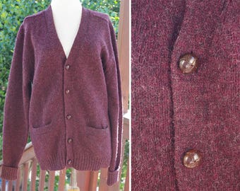 DEEP Purple 1970's Vintage Men's Dark Purple Brown Button Down Shetland Wool Cardigan // Frederick & Nelson // size Large