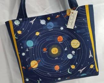 Solar System Space Planets Dear Stella fabric purse tote bag handbag