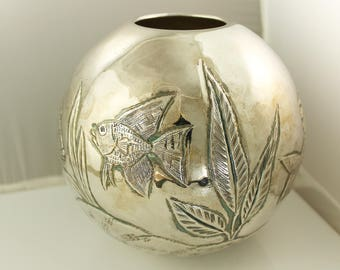 Vintage! Sterling Silver Repoussed Fishbowl