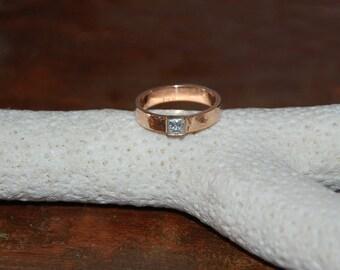 Custom Diamond/Moissanite Princess Cut Engagement Ring- 5mm 14kt  White Gold Matte finished band, Engagement Ring- 14kt White Gold