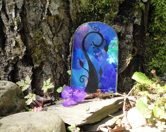 Fairy Door, Blue Iridescent Stained Glass, Garden Sculpture, Hand Painted, Fae Door, Fairy House, Portal, Farie Garden, Home Decor, Faerie