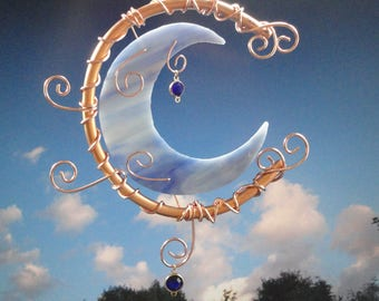 Stained Glass Moon, Garden Sculpture, Copper Art, Blue Moon, Celestial, Wall Hanging, Crescent Moon, Sun Catcher, Ornament, Moon Garden