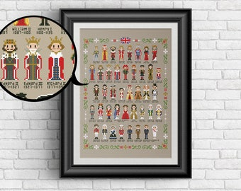 Kings and Queens of the United Kingdom - PDF cross stitch pattern