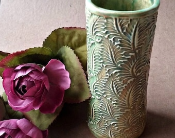 Ceramic  4 inch tall  flower bud vase Peacock Color edged in gold
