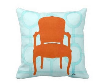 ORANGE CHAIR Pillow 4 sizes -  (indoor and outdoor fabrics)