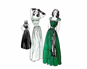 SALE 1940s Dinner and Dance Evening Dress Butterick 3963 Vintage Sewing Pattern Size 16 Bust 34 FACTORY FOLDED