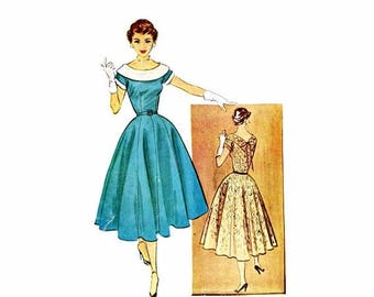 SALE 1950s Full Skirt Evening Dress McCalls 9611 Vintage Sewing Pattern Size 12 Bust 30