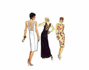 SALE 1980s Low Back Criss Cross Straps Sheath Dress Vogue 9545 Vintage Sewing Pattern Size 6 - 8 - 10 Bust 30 1/2 - 31 1/2 - 32 1/2 UNCUT