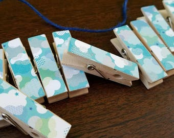 Fair Weather Clouds, Cloudy Day Blues, Clips w Twine for Photo Display, Chunky Little Clothespin Set of 12, Gifts For Her, Gifts Under 10