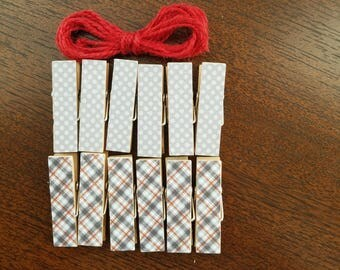 Rustic Cabin Gray and Red, Plaid and Polka Dots, Clips w Twine for Photo Display, Chunky Little Clothespin Set of 12, Gifts Under 10