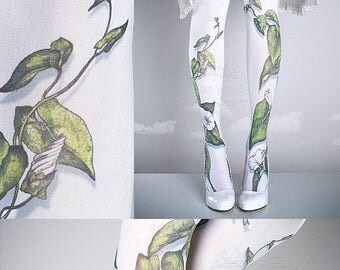 30%off/endsJUL23/ Tattoo Tights -  Climber Plant white one size full length closed toe pantyhose tattoo socks ,printed tights