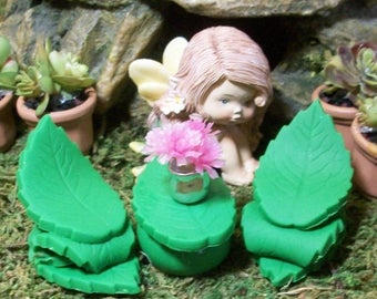 25% off SALE Leaf table and chair set Fairy or gnome Garden miniature