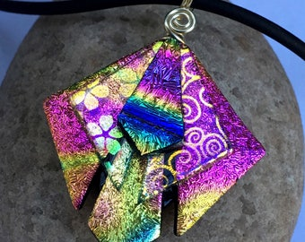 """Rainbow Unique 3D Dichroic Glass Pendant with Adjustable 16"""" - 18.5"""" Black Necklace"""