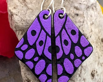 DICHROIC EARRINGS Purple Butterfly Wings Hand Etched Fused Glass with Sterling Silver Hooks