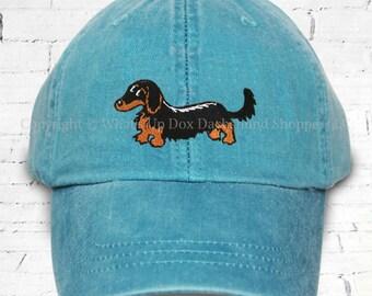 Embroidered Black & Tan Longhair Dachshund Ball Cap Blue