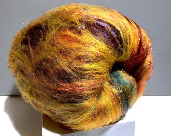 "gold art batt, Spinning fiber ""Black-eyed Susan"" Nuno, Needle felting wool, Gold, black brown yellow purple green topaz copper, PHat Fiber"
