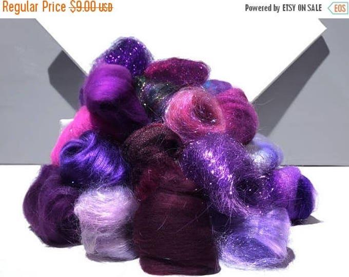 Featured listing image: KIT SALE Purple Fiber kit, Purple Sampler, roving, wool, firestar glitz Needle, Wet Felting wool, Spinning, mini batt, lavender, violet, egg