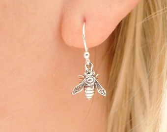 Bee Earrings Sterling Silver Dangle Earing Dainty Jewelry