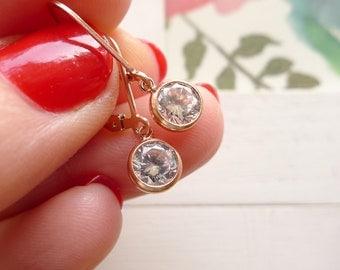 Dainty Rose Gold Leverback Earrings CZ Cubic Zirconia Dangle Earing