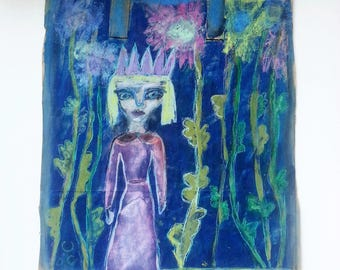 "Original acrylic, oil pastel painting on a paper bag with handle, ""Lost in the Garden"", 11 1/2"" x 16  1/2"", unusual, quirky, cute"