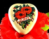 Poppy Heart Tin Small Vintage Tin Red and Green Poppies on Off White Tin Valentine Tin
