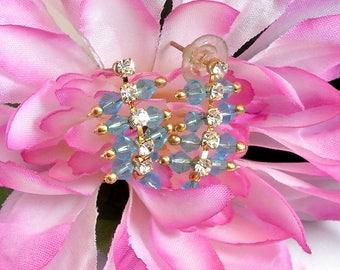 Blue Bead and Rhinestone Earrings Vintage Blue Earrings Rhinestone Stud Earrings Blue Dangle Earrings Wedding Gift