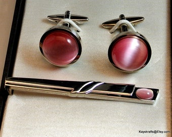 Giorgio Bissoni Pink Cuff Link and Tie Clasp Set Vintage Cuff Link and Tie Clasp Boxed Tie Clasp and Cufflinks Pink and Silver Mens Jewelry
