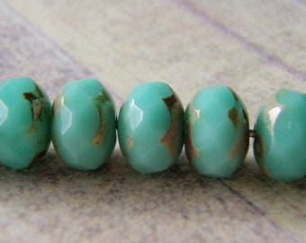 Jade Green Opal Beads Picasso Finish on the Ends 8x6mm Glass Rondelle 10 Beads