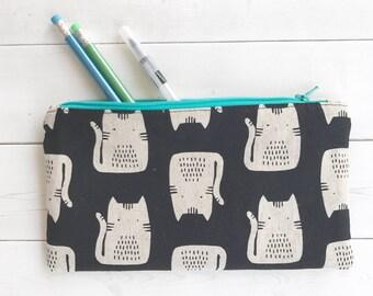 Cat Pencil Case/ School Supplies/ Cat Zipper Pouch /Cat Lover Gift /Cat Mom Gift /Pencil Pouch /Back To School/ Organizer Bag /Makeup Bag
