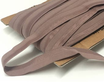 """10.8 m / 11.8 yds — satinized foldover lingerie elastic edge binding with fuzzy backing — rosewood / beige — 15 mm / 5/8"""" wide"""