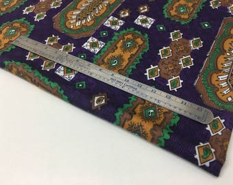 "VINTAGE — 0.45 m / 0.5 yds — lightweight cotton satin — purple w/ green and gold geometric pattern — 80 cm / 32"" wide"
