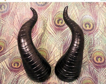 ON SALE Wicked Black Pearl Maleficent Costume Horns - Made to Order