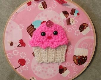 CREAM Cupcakes Rule Everything Aroud Me - Pink - Crochet Wall Art