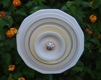 Plate Flower Moon Garden Art-White-Yellow-Gray