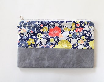 Zipper Pouch, Waxed canvas, Kindle, ipad device padded sleeve, canvas bag, Diaper wipes clutch, makeup organizer, Blue coral lime green