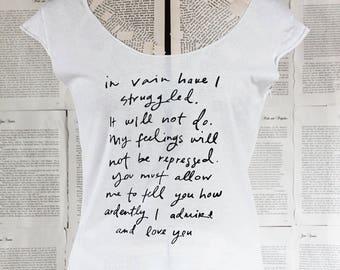 SALE - size SMALL - scoop neck t shirt - last in stock - Jane Austen - Mr. Darcy Proposal