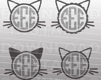 Kitty Monogram SVG,Kitty Cat SVG File,Cat Monogram SVG-Cutting Template-Vector Clip Art for Commercial/Personal Use-Cricut,Cameo,Silhouette