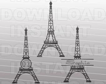Eiffel Tower SVG File,Paris France Monogram SVG -For Commercial & Personal Use- Vector Art,Cricut,Silhouette Cameo,Vinyl Design,iron on htv