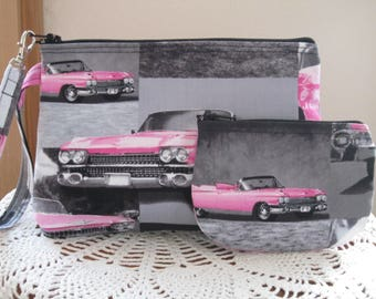 Retro Pouch Clutch Wristlet Zipper  Bag Set Smart phone Case Pink Cadillac