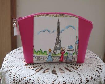 Paris Cafe Rouge Eiffel Tower Medium Clutch Cosmetic Bag  Purse Bridesmaid Gift Essential Oils Case Toiletry Kit Travel Case Camera Bag