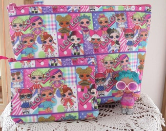 Childs LOL Surprise Doll Zipper Tote Set, LOL Surprise Tote Set, Doll Tote, Tote for Kids, Valentine gift
