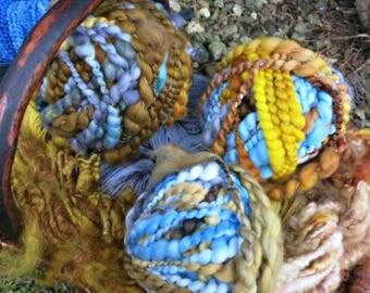 Art Yarn Collection - Hand Dyed Wool Yarn Lot - OOAK Yarn Collection - Blues, Grays, Golds - Isle Of Skye