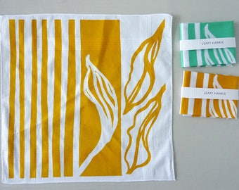 Long Leaf Stripe screenprinted cotton hankie